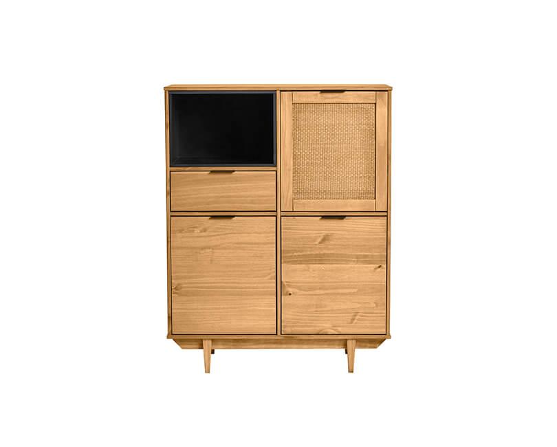 Levně Muzza úložná skříňka dakar borovice/ratan 96 x 122 cm